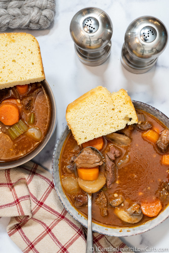 Keto Beef Stew with low carb bread