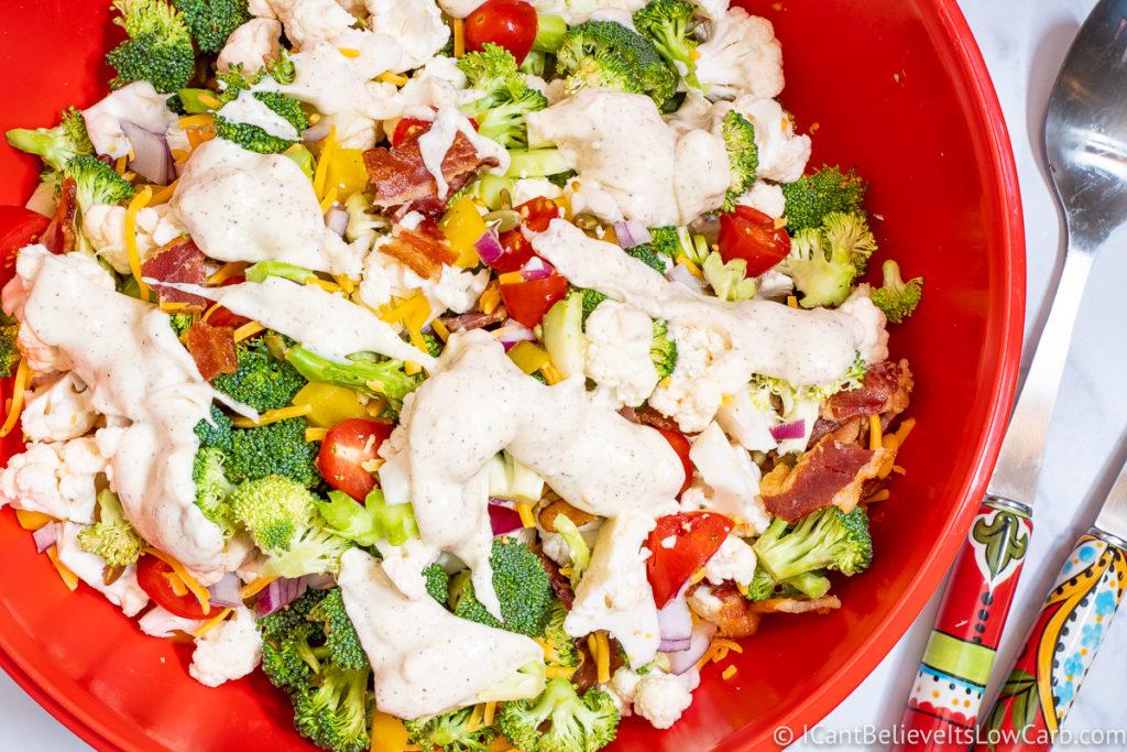 Recipe for Broccoli Cauliflower Salad with creamy dressing