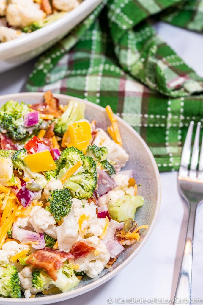 Broccoli Cauliflower Salad with Mayo