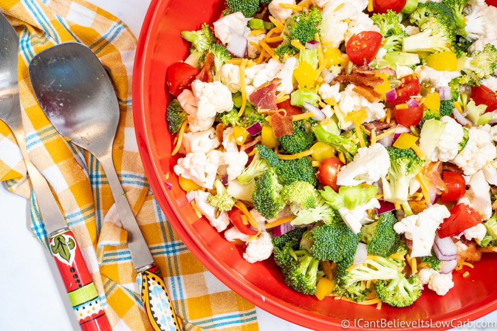 Raw Broccoli Cauliflower Salad Recipe