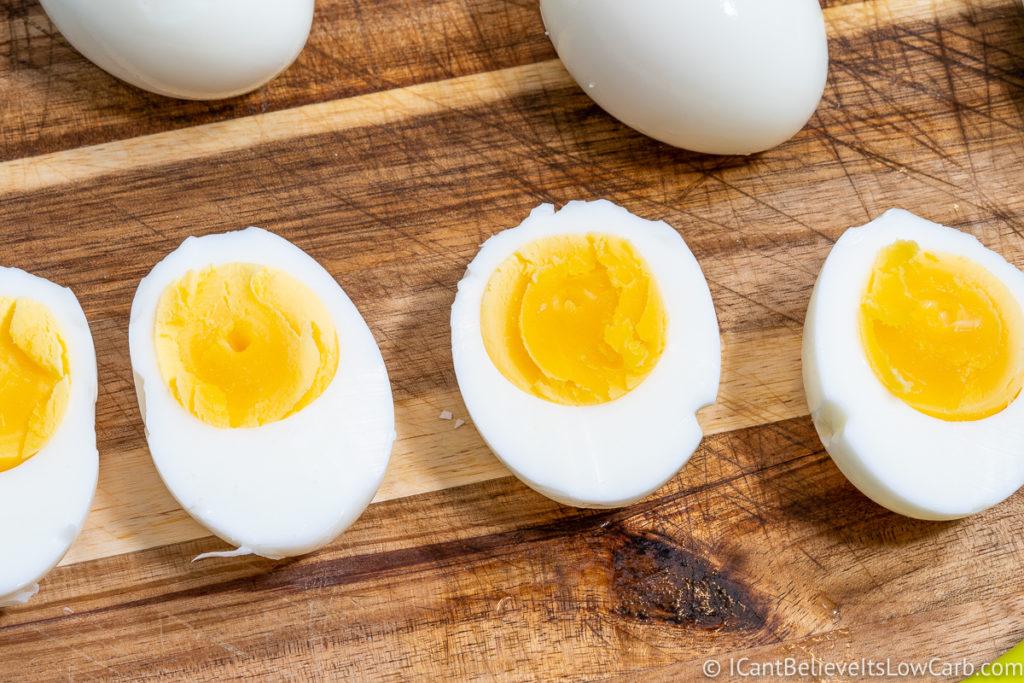 Instant Pot Hard Boiled Eggs cut in half