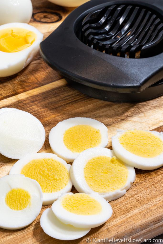 Pressure Cooker Hard Boiled Eggs sliced