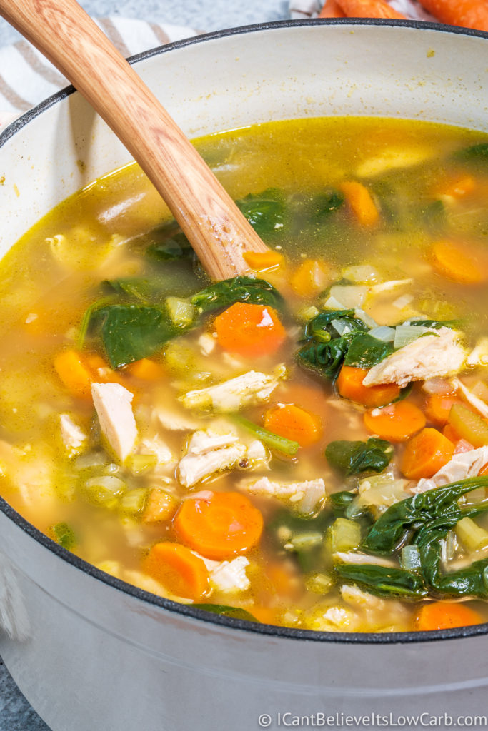 Keto Chicken Soup in a pot