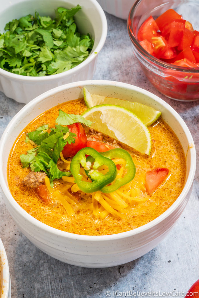 Low Carb Taco Soup in a bowl