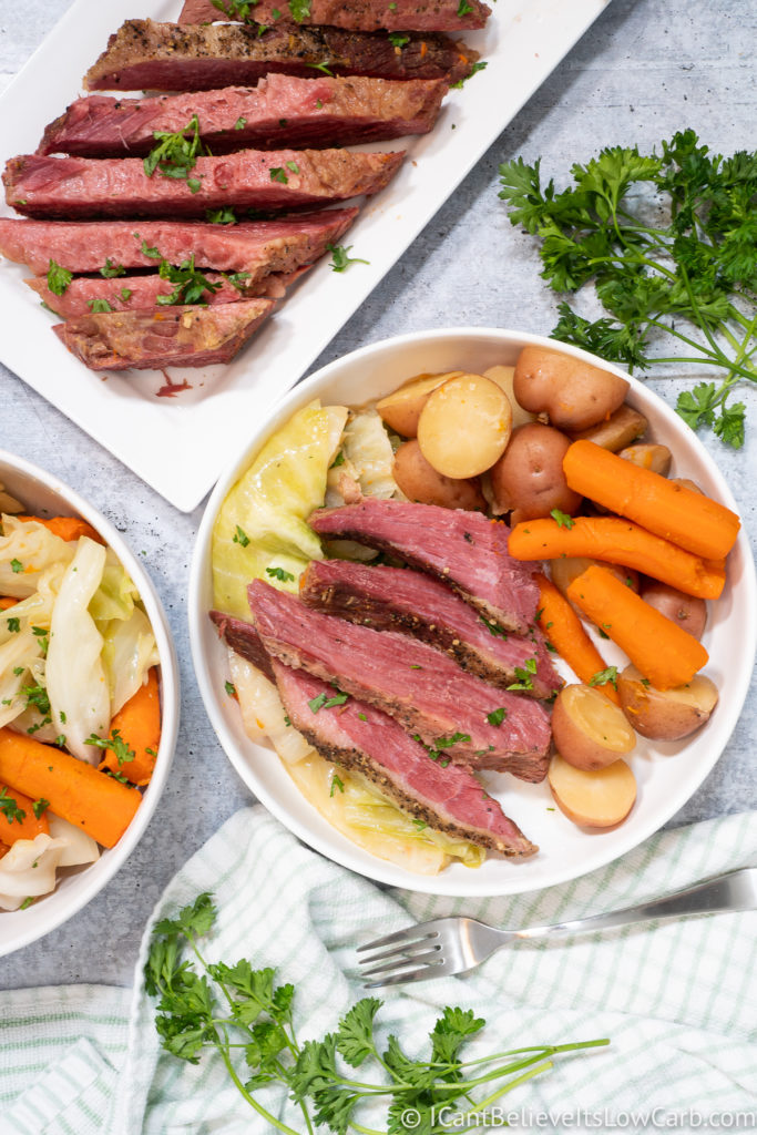 Corned Beef and Cabbage on the Table